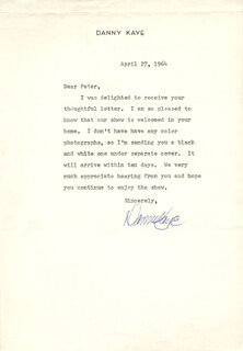 DANNY KAYE - TYPED LETTER SIGNED 04/27/1964