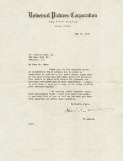 CARL LAEMMLE SR. - TYPED LETTER SIGNED 05/19/1926