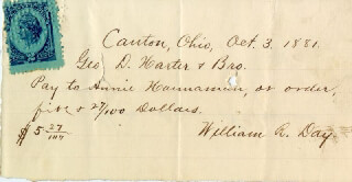 Autographs: ASSOCIATE JUSTICE WILLIAM R. DAY - AUTOGRAPH CHECK SIGNED 10/03/1881