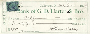 ASSOCIATE JUSTICE WILLIAM R. DAY - AUTOGRAPHED SIGNED CHECK 12/06/1879