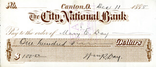 Autographs: ASSOCIATE JUSTICE WILLIAM R. DAY - CHECK SIGNED 12/11/1888 CO-SIGNED BY: MARY E. DAY