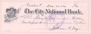ASSOCIATE JUSTICE WILLIAM R. DAY - AUTOGRAPHED SIGNED CHECK 12/25/1890 CO-SIGNED BY: MARY E. DAY