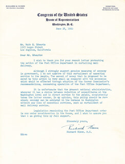 PRESIDENT RICHARD M. NIXON - TYPED LETTER SIGNED 06/28/1950