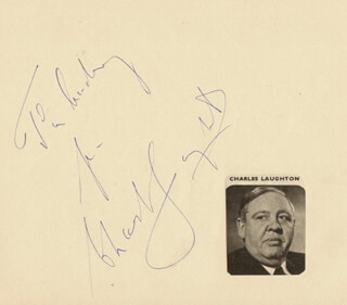 CHARLES LAUGHTON - AUTOGRAPH NOTE SIGNED