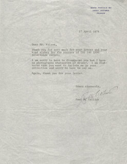 PAUL W. GALLICO - TYPED LETTER SIGNED 04/17/1974