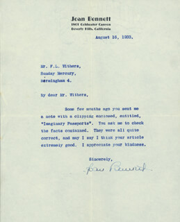 JOAN BENNETT - TYPED LETTER SIGNED 08/16/1933
