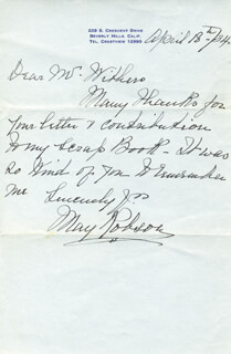 MAY ROBSON - AUTOGRAPH LETTER SIGNED 04/18/1934