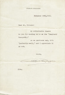 CHARLIE RUGGLES - TYPED LETTER SIGNED 11/16/1933