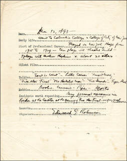 EDWARD G. ROBINSON - QUESTIONNAIRE SIGNED