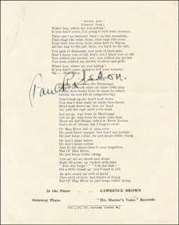PAUL L. ROBESON - PROGRAM SIGNED CIRCA 1934