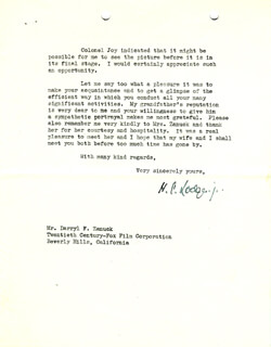 HENRY CABOT LODGE JR. - TYPED LETTER SIGNED 11/18/1943