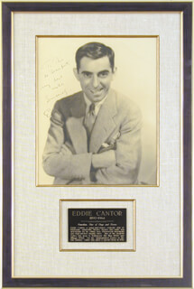 EDDIE CANTOR - AUTOGRAPHED SIGNED PHOTOGRAPH