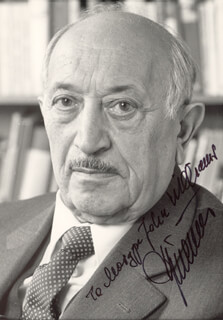 Autographs: SIMON WIESENTHAL - INSCRIBED PHOTOGRAPH SIGNED