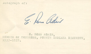 E. ROSS ADAIR - PRINTED CARD SIGNED IN INK