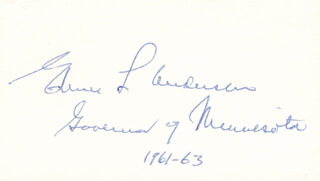 GOVERNOR ELMER L. ANDERSEN - AUTOGRAPH