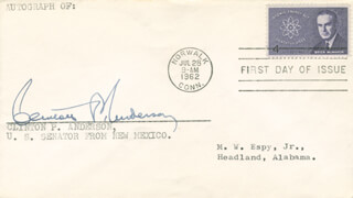 Autographs: CLINTON P. ANDERSON - FIRST DAY COVER SIGNED