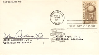 GOVERNOR JOHN ANDERSON JR. - FIRST DAY COVER SIGNED