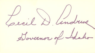 Autographs: GOVERNOR CECIL D. ANDRUS - SIGNATURE(S)