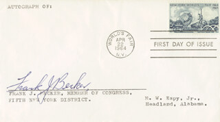 Autographs: FRANK JOHN BECKER - FIRST DAY COVER SIGNED