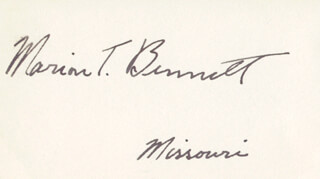 COLONEL MARION TINSLEY BENNETT - AUTOGRAPH