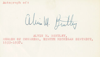 Autographs: ALVIN MORELL BENTLEY - SIGNATURE(S)