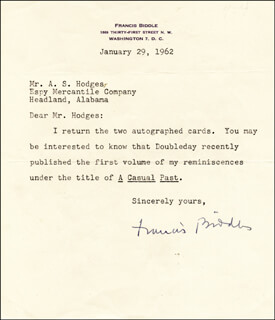 Autographs: FRANCIS B. BIDDLE - TYPED LETTER SIGNED 01/29/1962