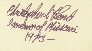 GOVERNOR CHRISTOPHER S. BOND - AUTOGRAPH 1973