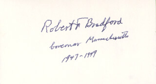 Autographs: GOVERNOR ROBERT F. BRADFORD - SIGNATURE(S)