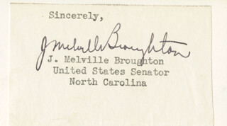 GOVERNOR J. MELVILLE BROUGHTON - TYPED SENTIMENT SIGNED
