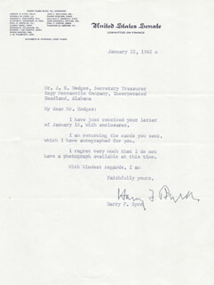 HARRY F. MR. ECONOMY BYRD SR. - TYPED LETTER SIGNED 01/22/1962