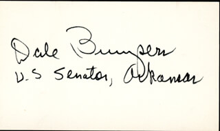 GOVERNOR DALE BUMPERS - AUTOGRAPH