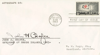 GOVERNOR JOHN H. CHAFEE - FIRST DAY COVER SIGNED