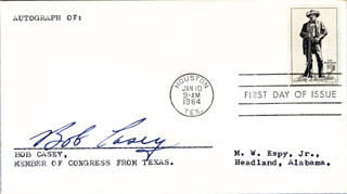 BOB CASEY - FIRST DAY COVER SIGNED