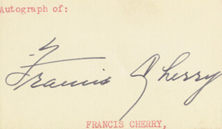 GOVERNOR FRANCIS ADAMS CHERRY - AUTOGRAPH