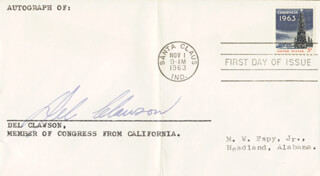 DELWIN DEL CLAWSON - FIRST DAY COVER SIGNED