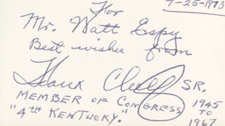 FRANK LESLIE CHELF - AUTOGRAPH NOTE SIGNED 07/25/1973