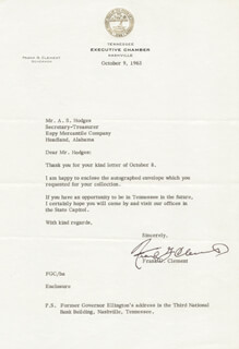 GOVERNOR FRANK G. CLEMENT - TYPED LETTER SIGNED 10/09/1963