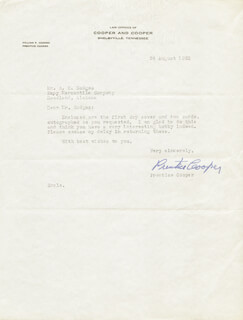 Autographs: GOVERNOR PRENTICE COOPER - TYPED LETTER SIGNED 08/24/1963