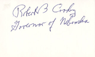 Autographs: GOVERNOR ROBERT B. CROSBY - SIGNATURE(S)