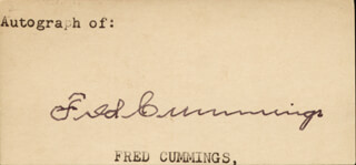 FRED CUMMINGS - AUTOGRAPH