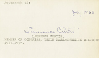 LAURENCE CURTIS - AUTOGRAPH 7/1960