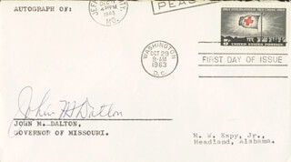 Autographs: GOVERNOR JOHN M. DALTON - FIRST DAY COVER SIGNED