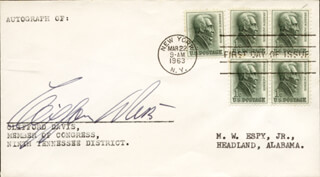 Autographs: CLIFFORD DAVIS - FIRST DAY COVER SIGNED