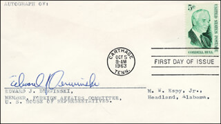 EDWARD J. DERWINSKI - FIRST DAY COVER SIGNED