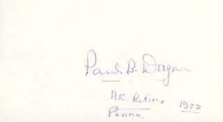 PAUL B. DAGUE - AUTOGRAPH