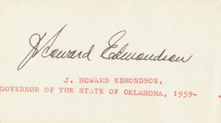 GOVERNOR JAMES HOWARD EDMONDSON - AUTOGRAPH