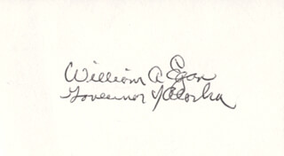 GOVERNOR WILLIAM A. EGAN - AUTOGRAPH