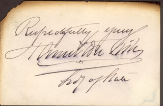 HAMILTON FISH - AUTOGRAPH SENTIMENT SIGNED