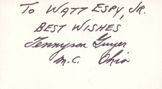 TENNYSON GUYER - AUTOGRAPH NOTE SIGNED
