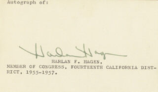 Autographs: HARLAN HAGEN - PRINTED CARD SIGNED IN INK